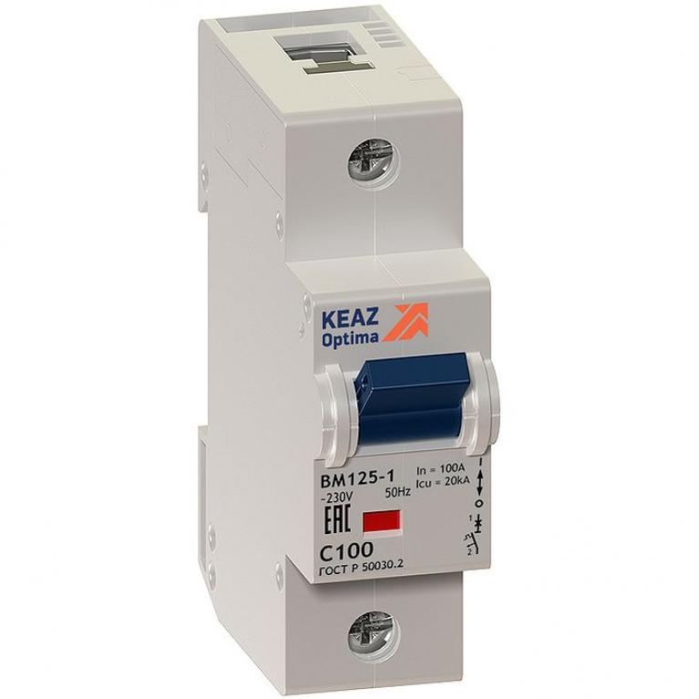 Автоматический выключатель КЭАЗ OptiDin 1P 100А (D) 7.5кА, 138596