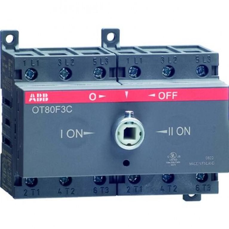 1SCA105338R1001 Реверсивный рубильник OT63F3C до 63А 3-полюсный для установки на DIN-рейку или монтажную плату (без ручки)
