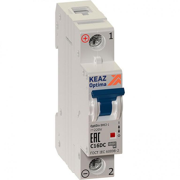 Автоматический выключатель КЭАЗ OptiDin 1P 1А (C) 6кА, 147183