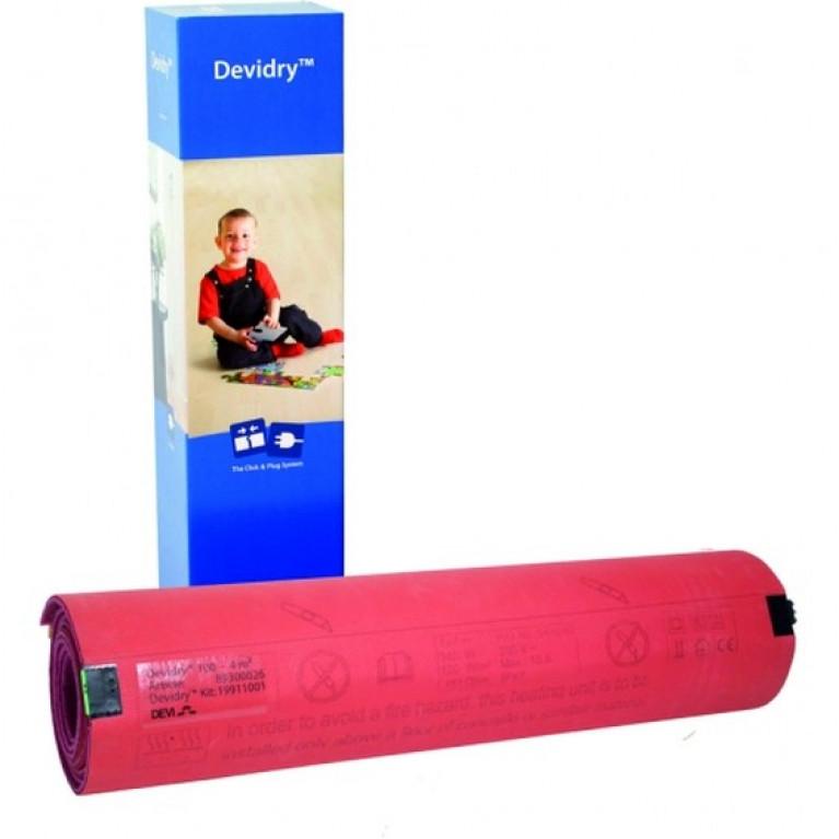 Нагревательная система DEVIdry™ 100 (100 Вт//м2). Размер: 1 х 1 м. Площадь мата 1 м2. Площадь обогрева 0,4 м2.
