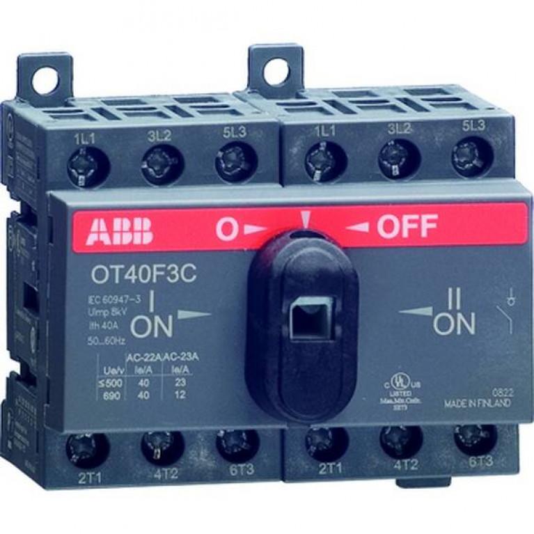 1SCA104863R1001 Реверсивный рубильник OT25F3С до 25А 3х-полюсный для установки на DIN-рейку или монтажную плату (с резерв. ручкой)