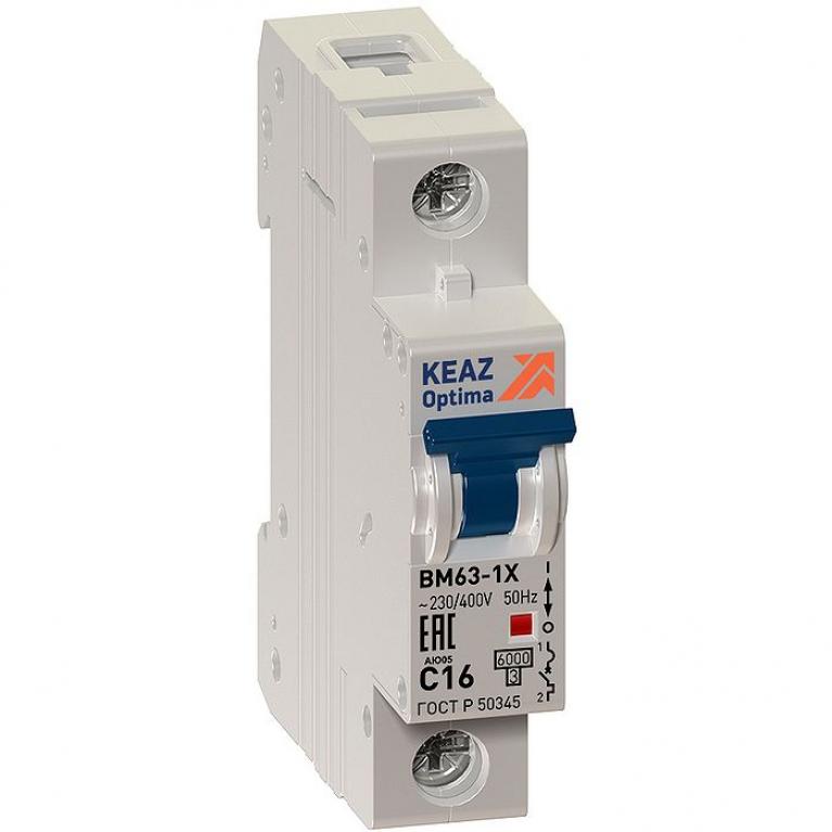 Автоматический выключатель КЭАЗ OptiDin 1P 16А (C) 6кА, 103545