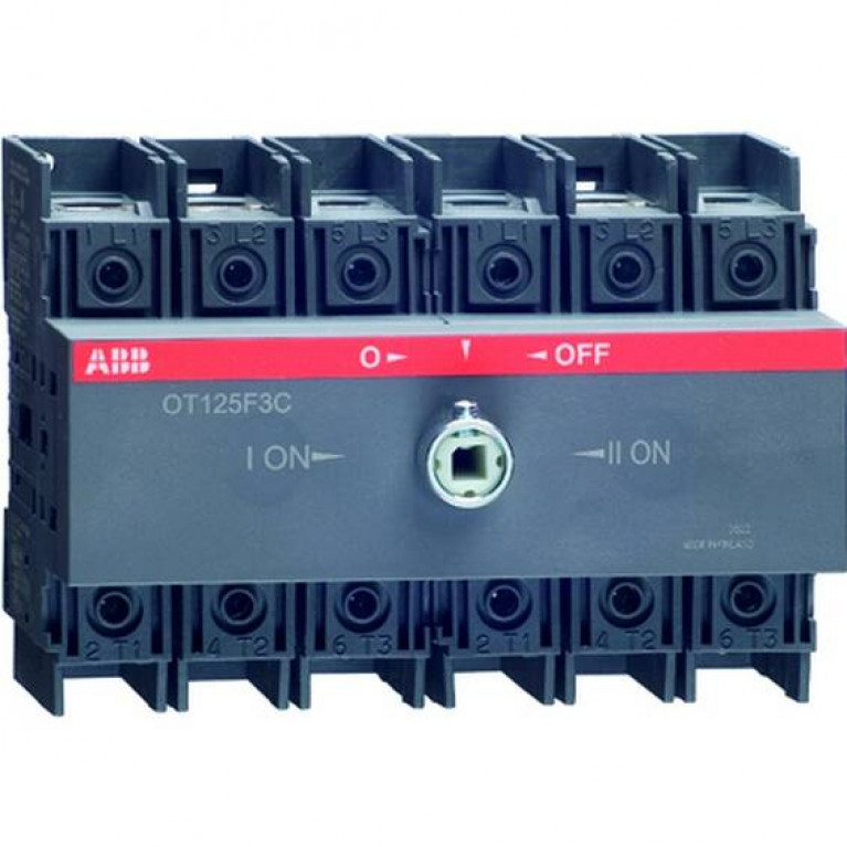 1SCA105037R1001 Реверсивный рубильник OT125F3C до 125А 3-полюсный для установки на DIN-рейку или монтажную плату (без ручки)
